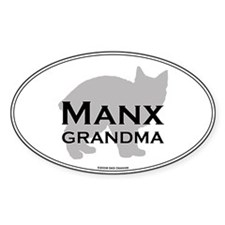 Manx Grandma Oval Decal