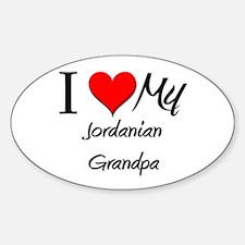 I Love My Jordanian Grandpa Oval Decal
