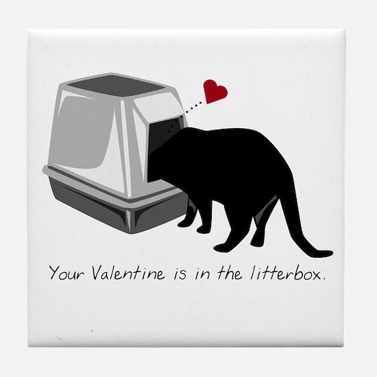 Litterbox Valentines Tile Coaster