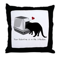 Litterbox Valentines Throw Pillow