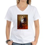 Lincoln's Corgi (Bl.M) Women's V-Neck T-Shirt