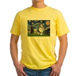 Starry Welsh Corgi (Bl.M) Yellow T-Shirt