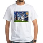 Starry Welsh Corgi (Bl.M) White T-Shirt