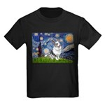 Starry Welsh Corgi (Bl.M) Kids Dark T-Shirt