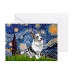 Starry Welsh Corgi (Bl.M) Greeting Cards (Pk of 20
