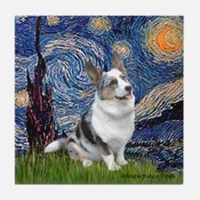 Starry Welsh Corgi (Bl.M) Tile Coaster
