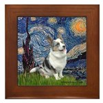 Starry Welsh Corgi (Bl.M) Framed Tile