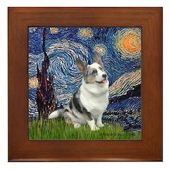 Starry Welsh Corgi (Bl.M) Framed Tile