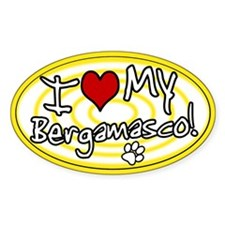Hypno I Love My Bergamasco Oval Sticker Ylw