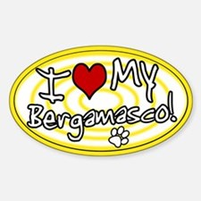 Hypno I Love My Bergamasco Oval Sticker Ylw