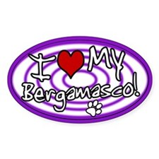 Hypno I Love My Bergamasco Oval Sticker Purp