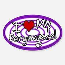 Hypno I Love My Bergamasco Oval Sticker Purp