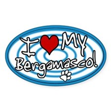 Hypno I Love My Bergamasco Oval Sticker Blue