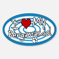 Hypno I Love My Bergamasco Oval Sticker Blue