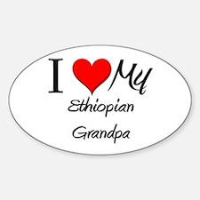 I Love My Ethiopian Grandpa Oval Decal