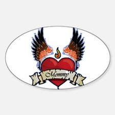 Moms Rock Winged Heart Oval Decal