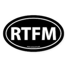 RTFM (Read The F-ing Manual) Sticker -Black (Oval)