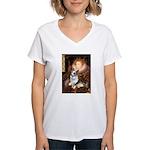 The Queen's Corgi (Bl.M) Women's V-Neck T-Shirt