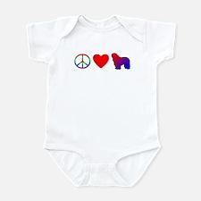 Peace, Love, Bergamasco Baby Bodysuit