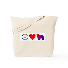 Peace, Love, Bergamasco Tote Bag