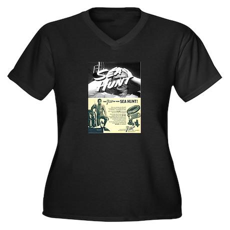 vintage scuba Women's Plus Size V-Neck Dark T-Shir