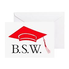 Red BSW Grad Cap Greeting Card