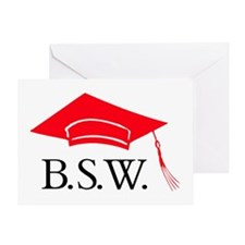 Red BSW Grad Cap Congrats Greeting Card