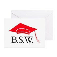 Red BSW Grad Cap Thank You Cards (Pk of 20)