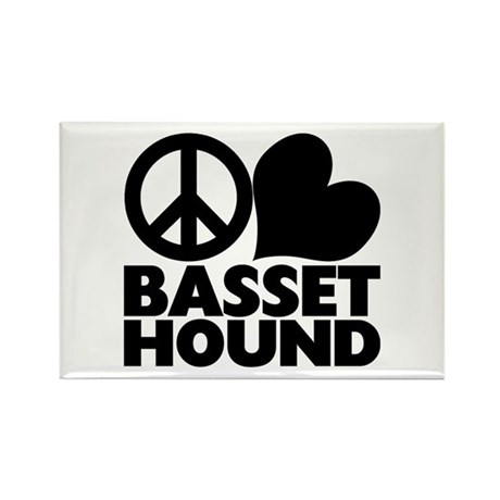 Peace Love Basset Hound Rectangle Magnet