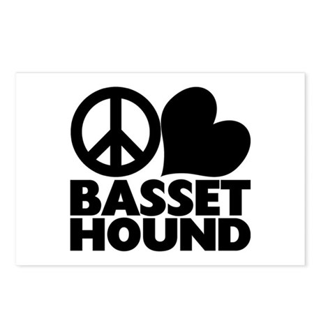 Peace Love Basset Hound Postcards (Package of 8)
