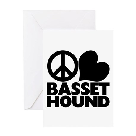 Peace Love Basset Hound Greeting Card