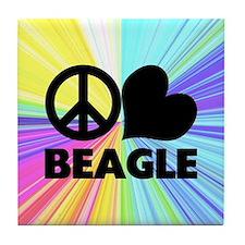 Peace Love Beagle Tile Coaster
