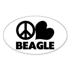 Peace Love Beagle Oval Decal