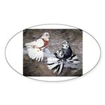 Champion Trumpeter Pigeons Oval Sticker