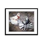 Champion Trumpeter Pigeons Framed Panel Print