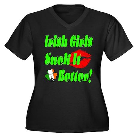 Irish Girls Suck It Better Women's Plus Size V-Neck Dark T ...