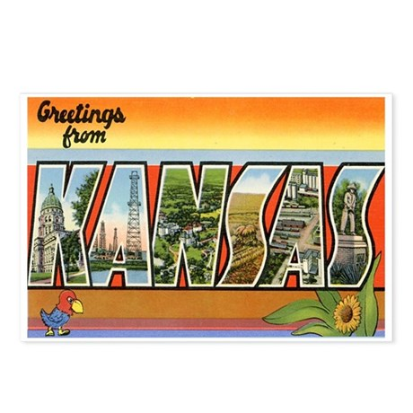 Greetings from Kansas Postcards (Package of 8)