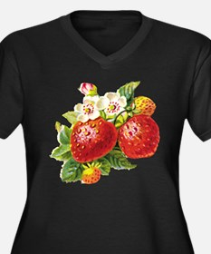 Retro Strawberry Women's Plus Size V-Neck Dark T-S