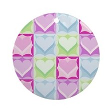 SIXTEEN COLORFUL HEARTS Ornament (Round)