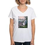 The Seine - Corgi (Bl.M) Women's V-Neck T-Shirt