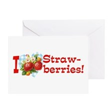 I Love Strawberries Greeting Card