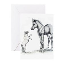 Jack russle terrier, and foal Greeting Cards (Pk o