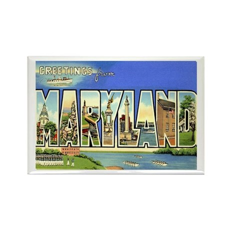 Greetings from Maryland Rectangle Magnet