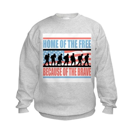 HOME OF THE FREE BECAUSE OF THE BRAVE Kids Sweatsh