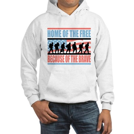 HOME OF THE FREE BECAUSE OF THE BRAVE Hooded Sweat