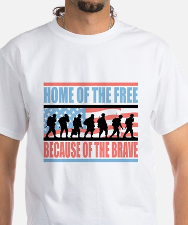 HOME OF THE FREE BECAUSE OF THE BRAVE White T-Shir