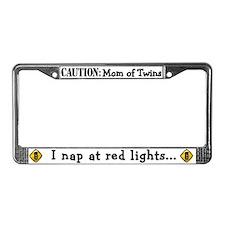 Mom of Twins Sleep @ Red Light License Plate Frame