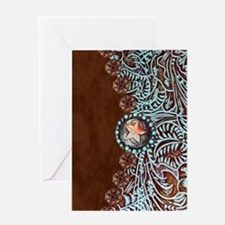 Western turquoise tooled leather Greeting Cards