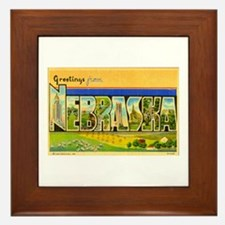 Greetings from Nebraska Framed Tile