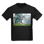 Lilies (#1) - Corgi (Bl.M) Kids Dark T-Shirt